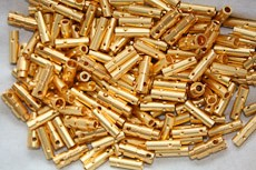 Pile of manufacturing defect gold plated connector pins