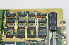 This is a beautiful board with gold traces, fingers and valuable IC chips. It is from a telecom board.