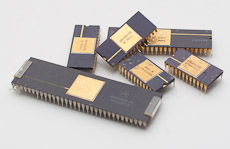 High quality IC chips found on a Motorola board. Notice the gold plating.